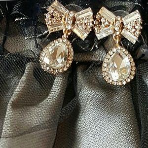 Betsey Johnson Gold Crystal Bow Teardrop Earrings